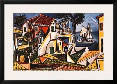 Mediterranean Landscape Framed Art Print by Pablo Picasso at Art.com