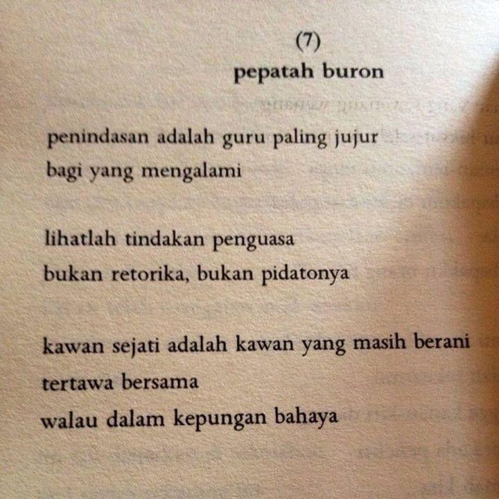 """Pepatah Buron"" (Wiji Thukul)"
