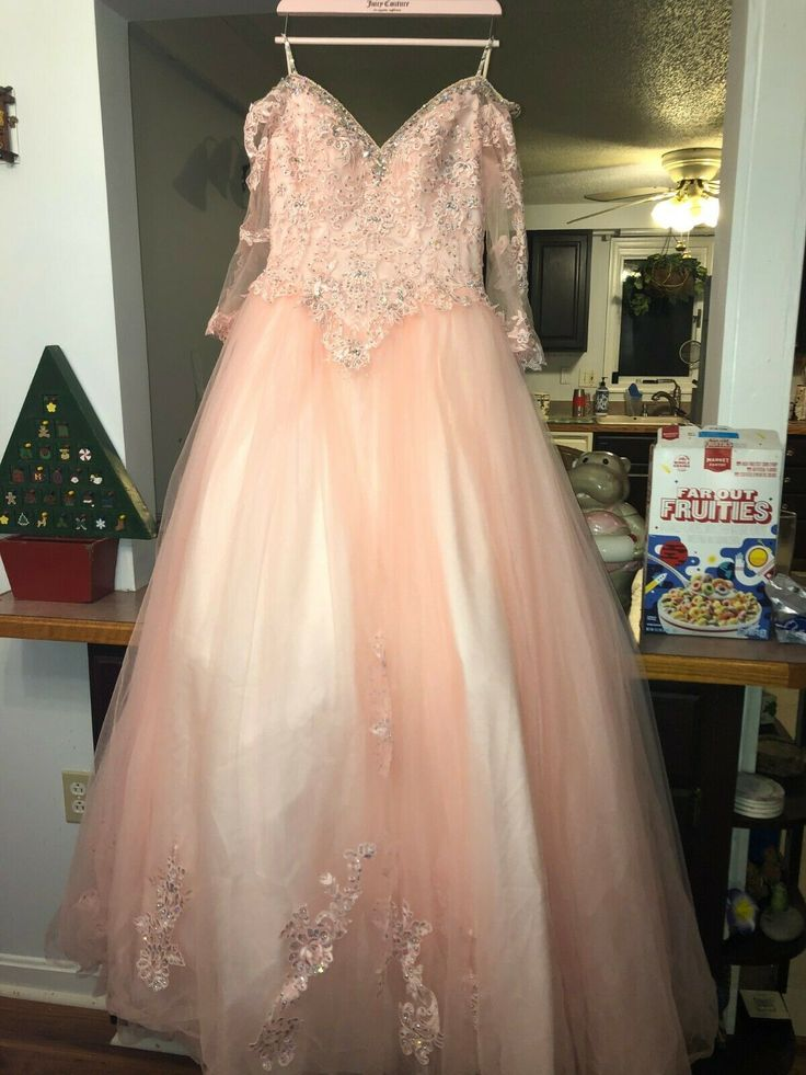 Light pink quinceanera dresses long sleeves ball gown can
