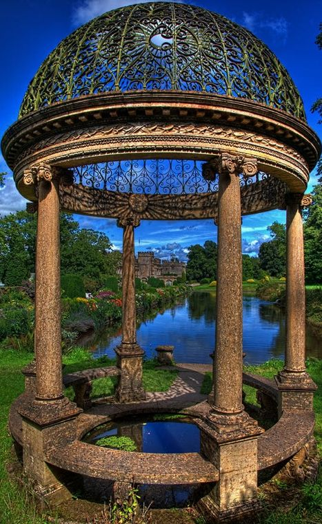Beautiful, ancient gazebo at Hartland Abbey in Hartland, Devon, England • photo: Chris Lord on Fine Art America