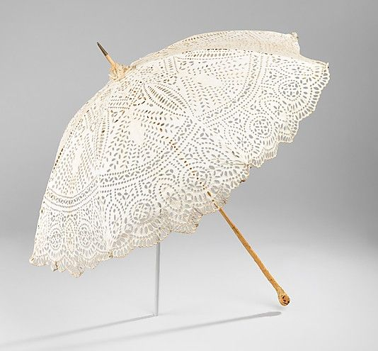 Parasol, 1900–1905. The Metropolitan Museum of Art, New York. Brooklyn Museum Costume Collection at The Metropolitan Museum of Art, Gift of the Brooklyn Museum, 2009; Gift of Ellen Thomas, 1961 (2009.300.3220) | This parasol is made of eyelet fabric which was used profusely in the late nineteenth and early twentieth century for summer garments.