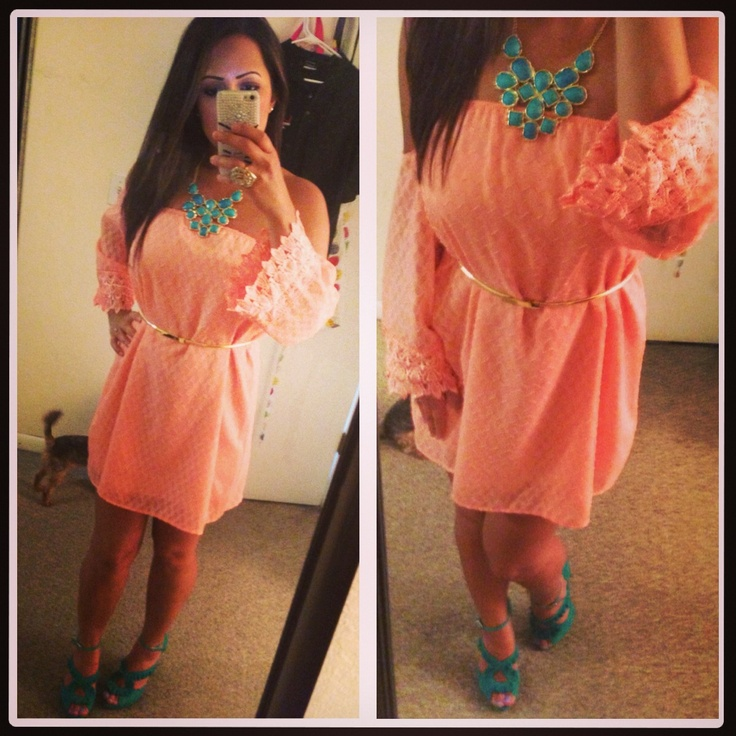 Fashion coral dress teal heels gold belt chunky necklace for Jewelry to wear with coral dress