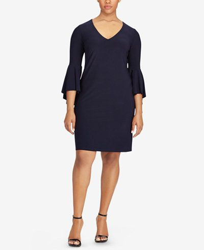 Lauren Ralph Lauren Plus Size Flounce-Sleeve Jersey Dress