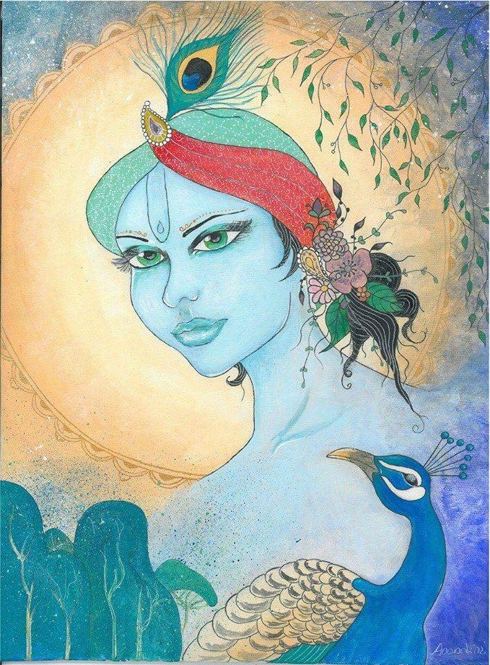 Krishna acryl by Bencze Anita Turquoise Janina art