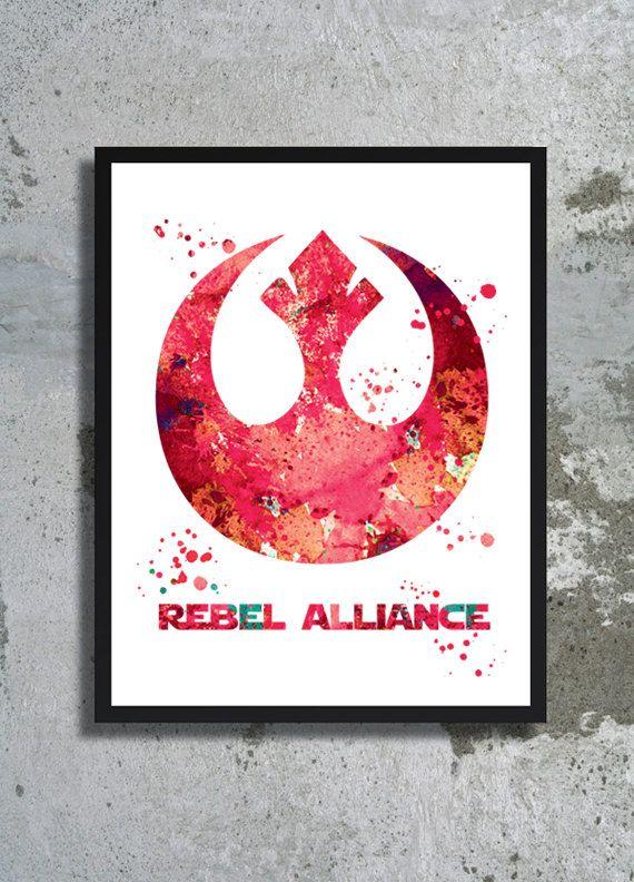 Rebel alliance poster Rebel alliance watercolor print Star Wars Illustration Rebel alliance symbol Galaxy Poster Star wars gift wall decor