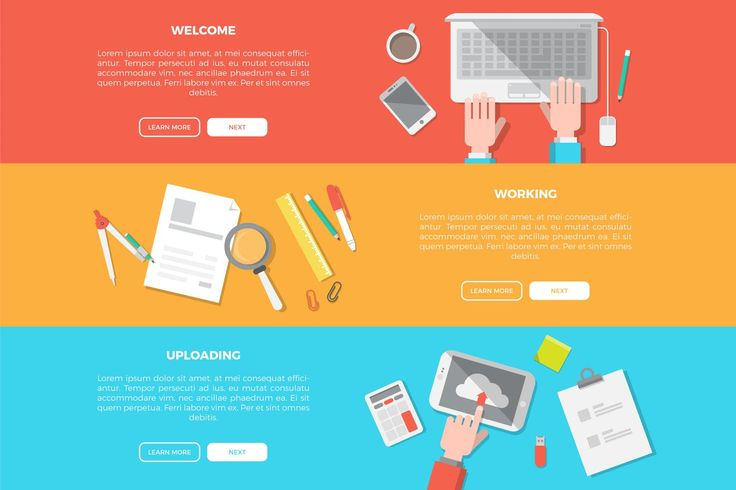 Creative Workspace Banner Collection Infographic Element  EPS, AI