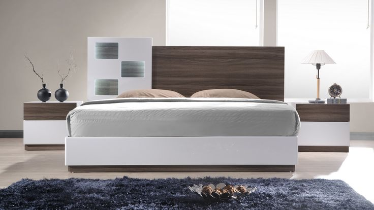 Ju0026M Furniture Sanremo A Bedroom Set In Walnut Veneer / White Lacquer