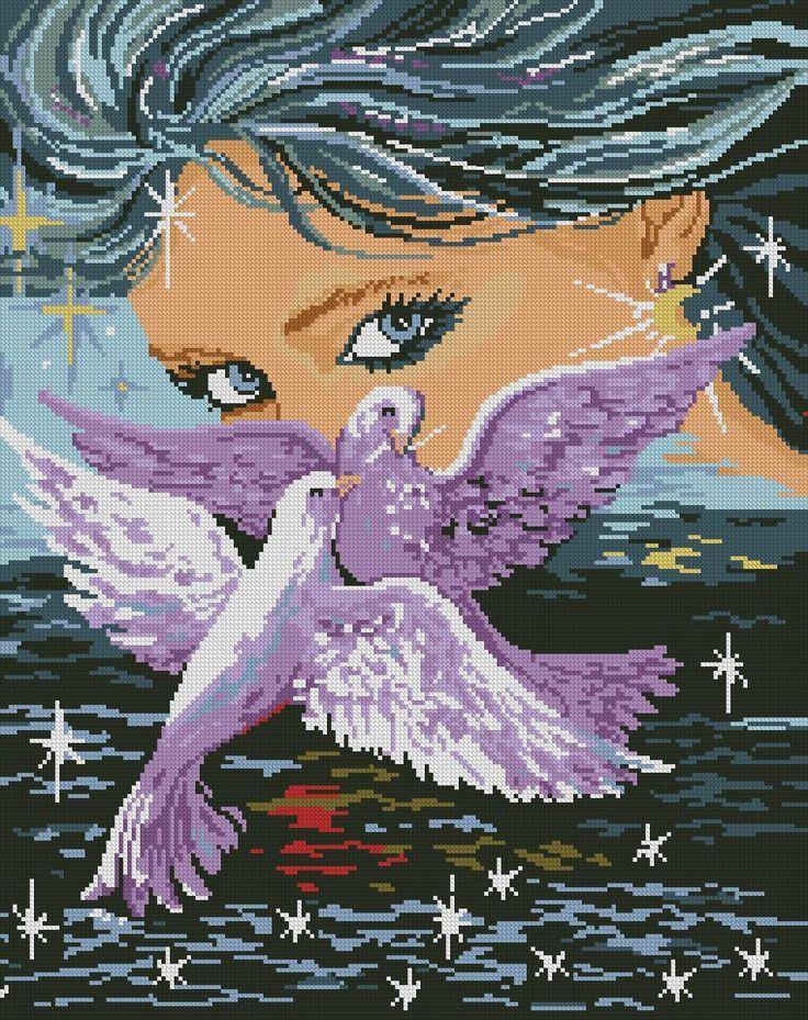 0 point de croix femme et oiseaux - cross stitch girl and birds