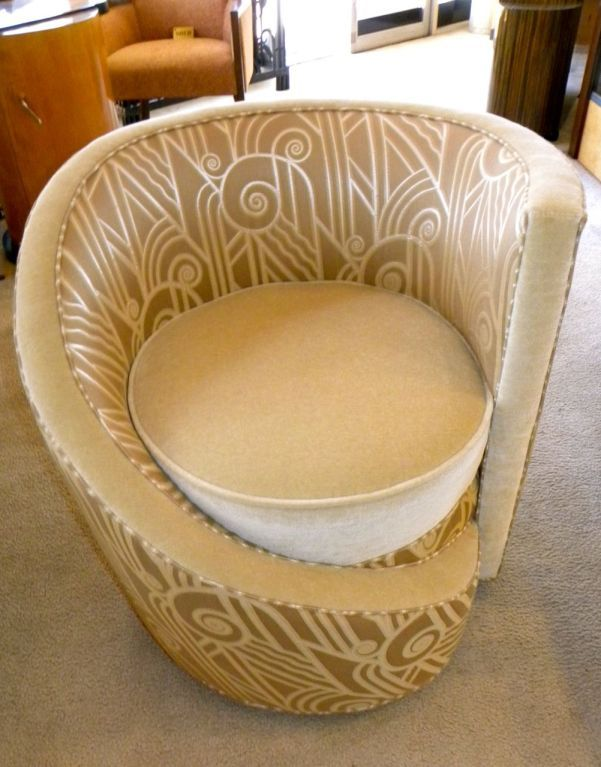 Gatsby Inspired Interiors: Hollywood Glamour Art Deco Unique Swivel Chair