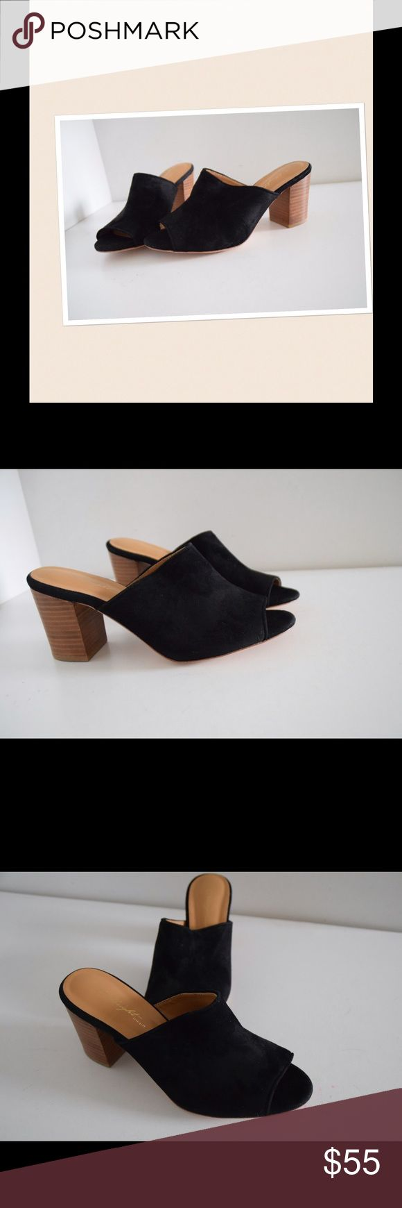 "NWOT anthropologie Miss Albright open toe mules NWOT Anthropologie Miss Albright open toe mules Suede upper. Black. Leather soles Size 8 1/2. Chunky wooden heels 3"" New never worn! Beautiful shoes! Anthropologie Shoes Mules & Clogs"