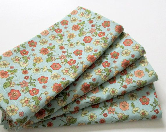 Large Cloth Napkins - Set of 4 - Pink Blue Flowers Floral  - Dinner, Table, Everyday, Wedding