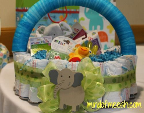 DIY Diaper Cake Basket and other homemade baby shower gift ideas. www.mindofmeesh.com