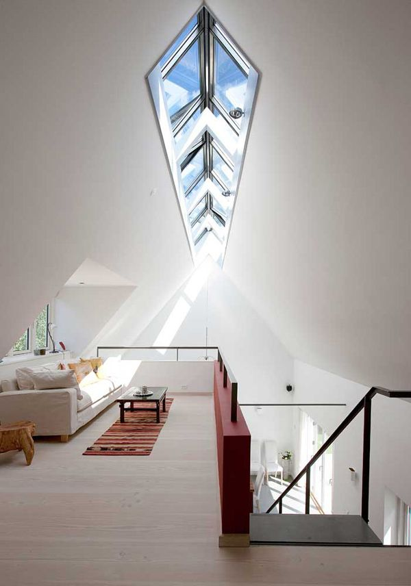 Simplicity with light wood, whites, black, and deep red, and an unbelievable skylight.