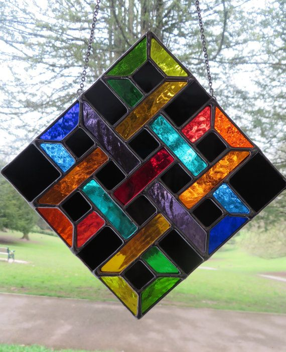 Eternal Knot Superb Rainbow Stained Glass by pewtermoonsilver