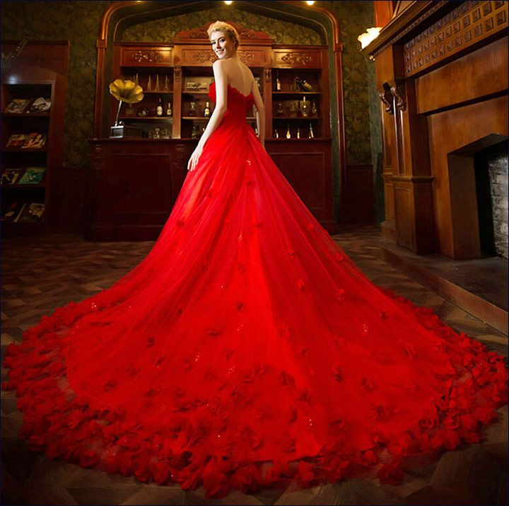 Red Gowns For Wedding - A Partially Bouffant Gown With A Train