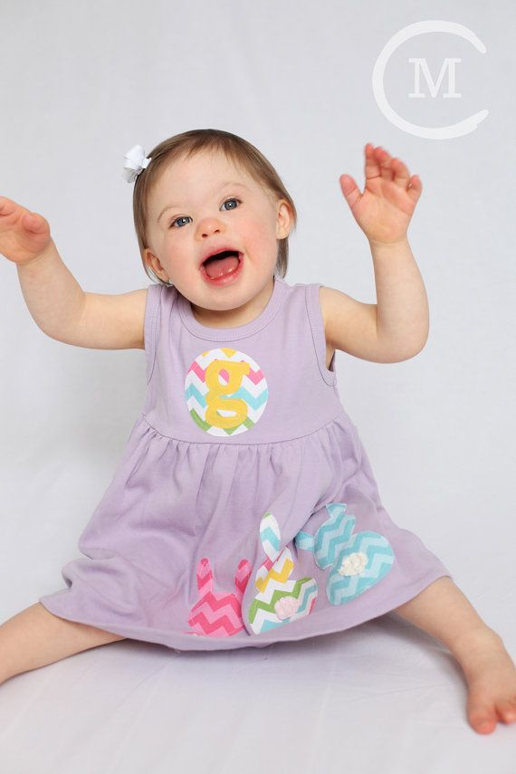 Toddler Easter Dress - Personalized Dress with Bunny Applique- You Choose Dress Color and Sleeve Length on Etsy, $32.00