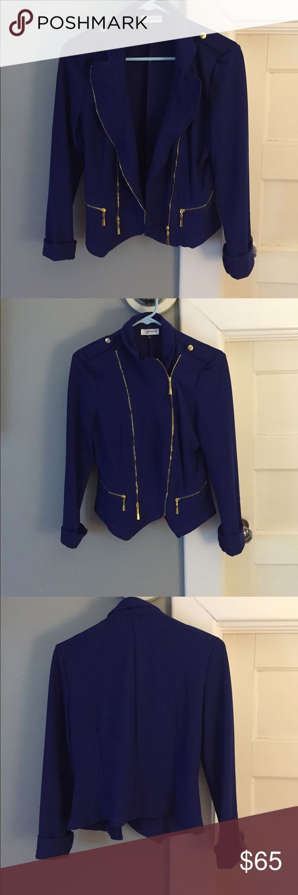Royal blue fitted blazer Bought at a boutique shop in Boston and wore once. Excellent condition pretty reckless Jackets & Coats Blazers