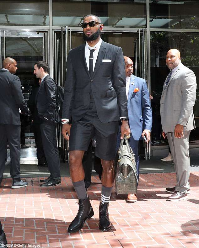 bec3e1db309c94 LeBron James wears Thom Browne shorts suit to Game 1 of NBA Finals