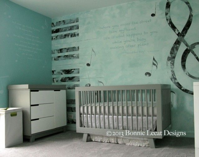 Gender Neutral Music Themed Nursery In Chicago Featuring Notes Song Lyrics Piano Keys And Textured Plaster Faux Finish Kids Mural Children S