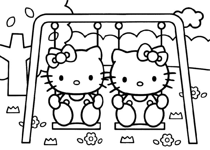Hello kitty swing coloring page