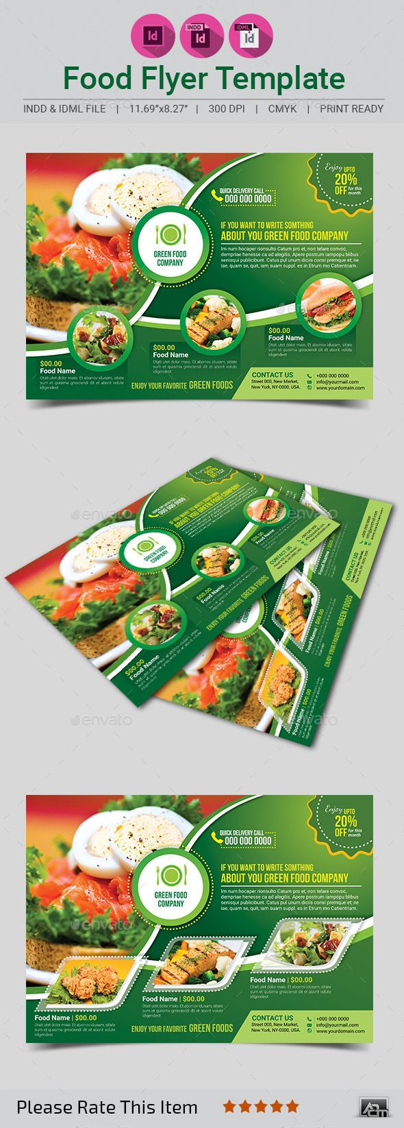 Green Food Flyer Template #design #foodflyer Download: http://graphicriver.net/item/green-food-flyer-template/11564056?ref=ksioks