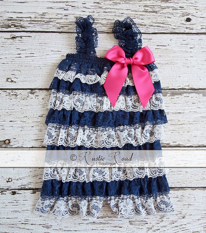 EXCLUSIVELY Designed by me - Navy Stripe Lace Romper - Choose Bow Colors: Ruffle Romper, Baby Girl 1st Birthday Outfit, Navy, 3Mo-8Yr