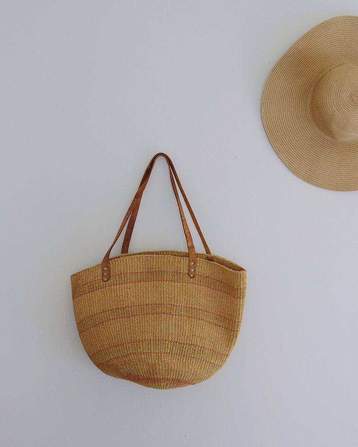 vintage woven and leather sisal shopper market tote shoulder bag 70s