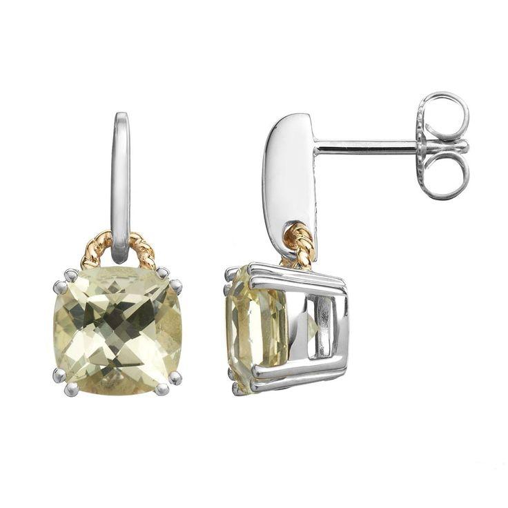 Lemon Quartz Sterling Silver Square Stud Earrings, Women's, Yellow