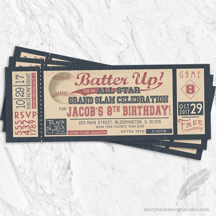 Batter Up Vintage Baseball Ticket Birthday Party Invitations