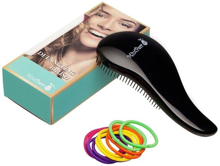 MintPear Black Detangling Hair Brush (Bonus 10 Multi-Color Tangle-Free Elastics)