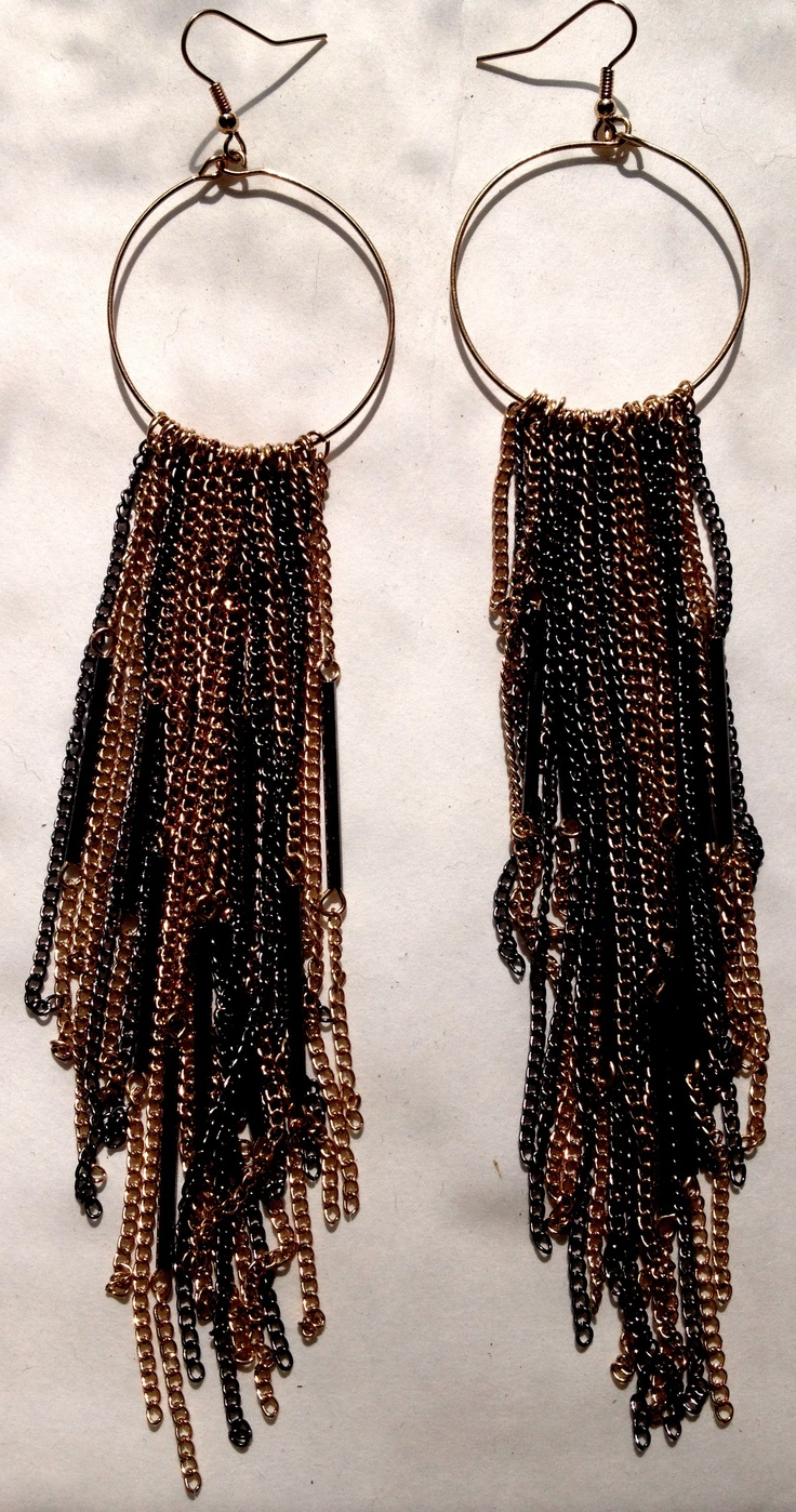 Long lengths of black & gold chains that drape down your neck in a stunning & sensual style