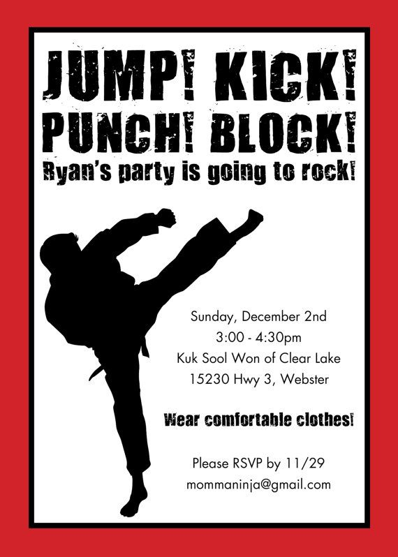 88 best images about Party In a Karate Kid Styleee ninja on – Karate Party Invitations