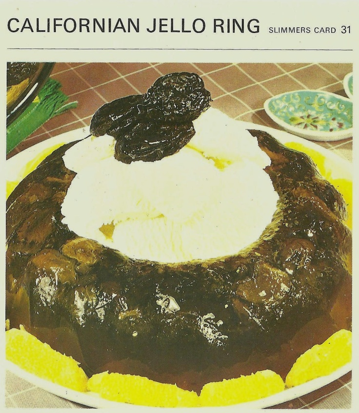 disgusting retro food - prune jello mold. There is no way this could ever be considered a good idea.