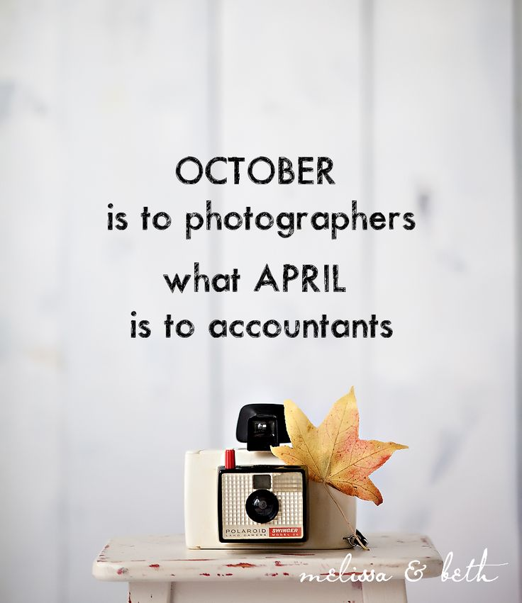 October is to photographers what April is to accountants!