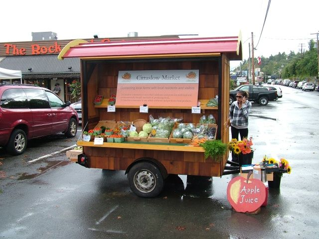 Portable Vegetable Stand - Can be built to customer's aesthetic. Can be set anywhere on the land that is suitable for particular events. Downside: Water catchment is not ideal