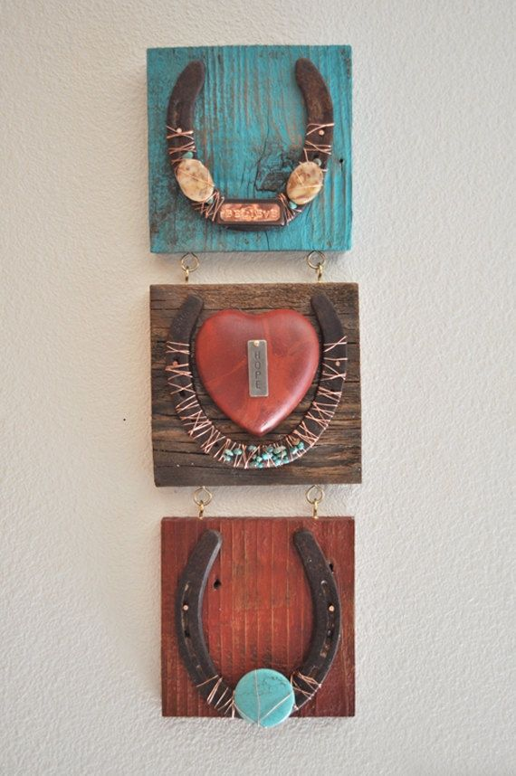 Believe, Hope 3 horseshoes- Copper Rustic Cowboy Western Horseshoe Art, western art, inspirational gift, rustic western decor. $80.00, via Etsy.