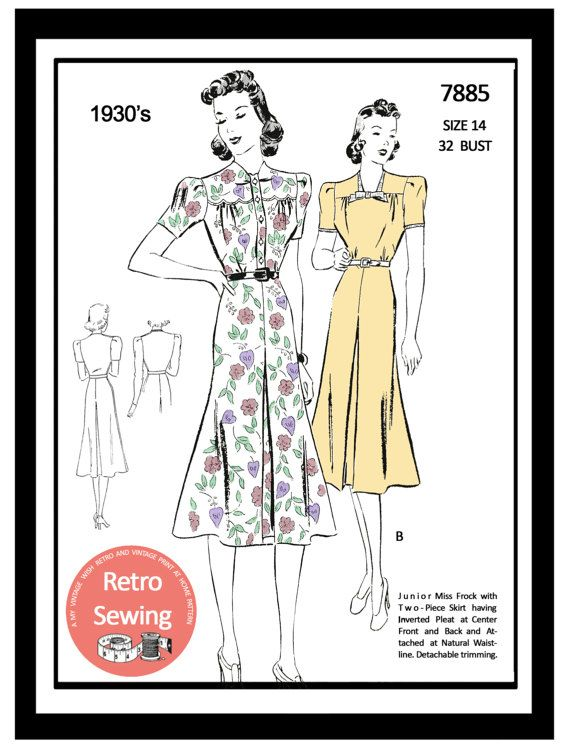 1930s  Summer Frock Sewing Pattern  Full Size PDF by MyVintageWish