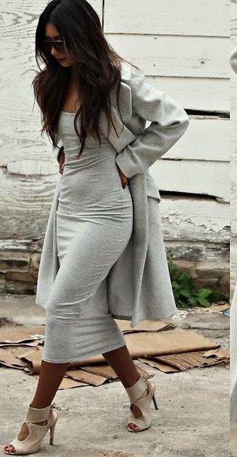 Grey Midi Dress Perfection