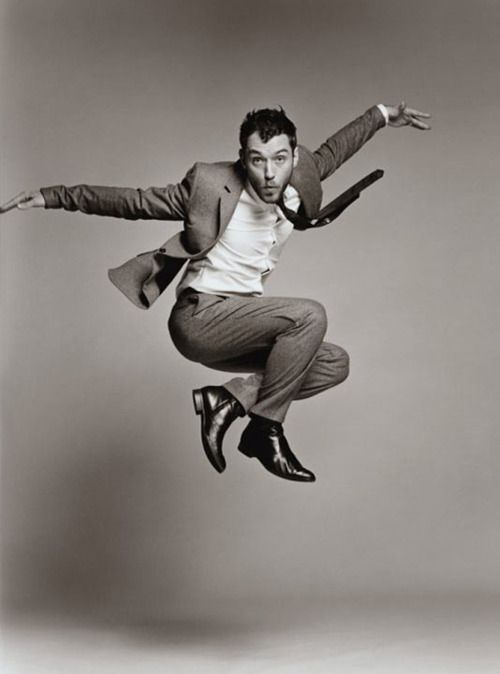 Jude Law. I had a higher purpose for starting this board, but this seems as important as historical visual rhythms of the human condition. I mean, it's Jude Law. Jumping.