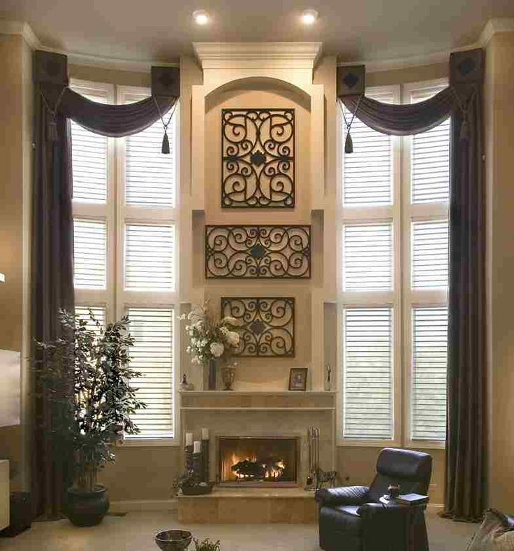 Tall Windows Treated With Open Swag Side Panel Combo Upholstered Square Medallions