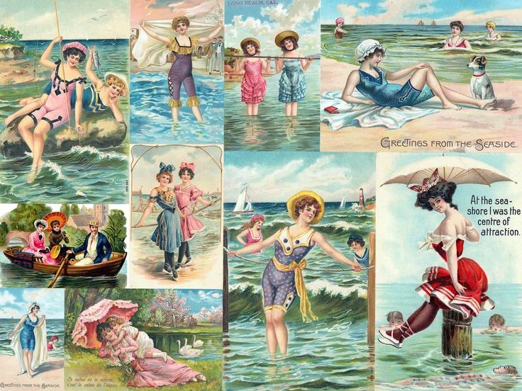 Vintage bathing beauties at the beach / seashore postcard collage by Debbie Jackson.