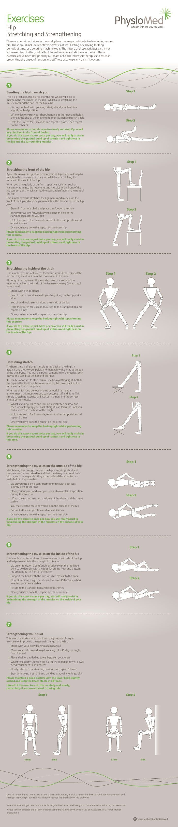 Our hip exercise infographic helps to target and reduce common hip conditions. The exercises are simple, effective and can be performed in the workplace. For more information visit http://physiomed.co.uk/... #Physical #Therapy Pin/Via -