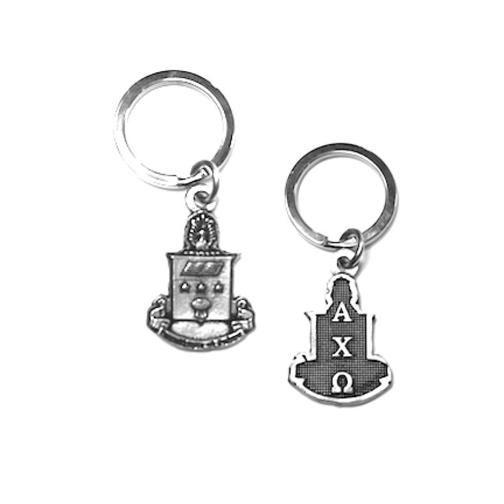 Alpha Chi Omega Keychain . Crest with Greek Letters