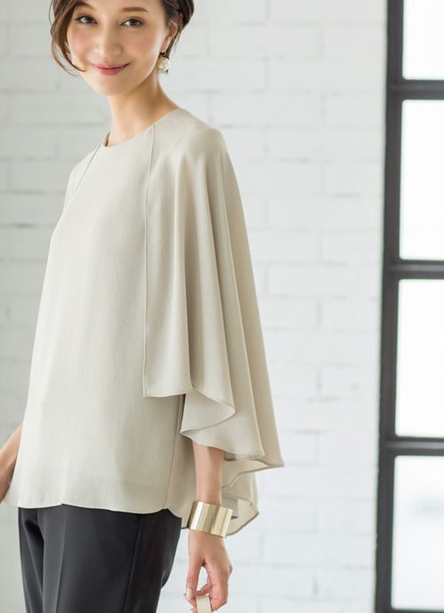 【Made in JAPAN】ロングケープジョーゼットブラウス 新着 | おしゃれな大人レディースファッション通販STYLE DELI