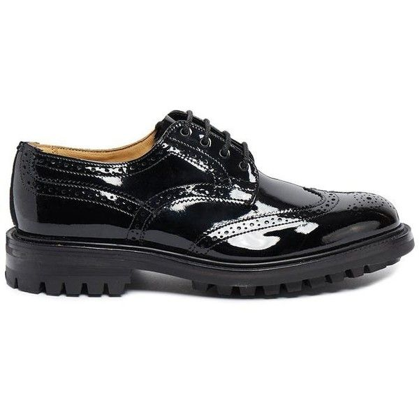 Laura Black Patent Leather Brogues ❤ liked on Polyvore featuring shoes, oxfords, black patent leather shoes, brogue shoes, black brogues, black shoes and black patent oxfords