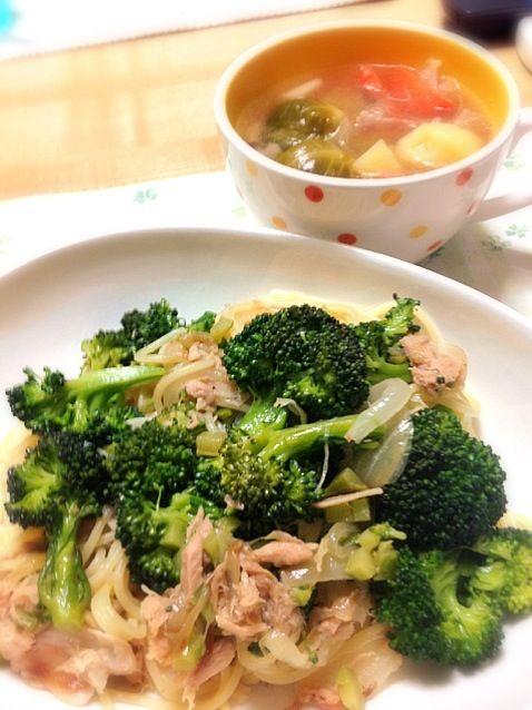 スープの具材は、芽キャベツ、ベーコン、玉葱、ジャガイモ、人参 - 59件のもぐもぐ - ツナとブロッコリーのスパゲティと芽キャベツのスープ by koich