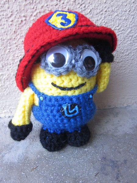 Custom Firefighter Minion Crocheted Stuffed Animal