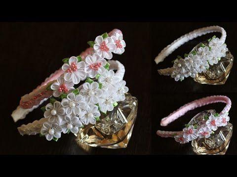 Ободок канзаши мастер класс Весенний / DIY / Tutorial - YouTube