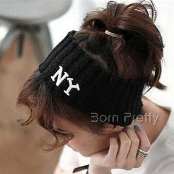 $5.13 Fashion Sports Letters Hair Band Elastic Knitting Hair Band Casual Cotton Stretch Hairband - BornPrettyStore.com