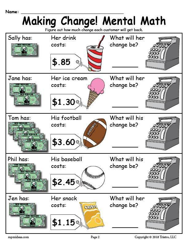 Printable Making Change Money Worksheets 2 Versions Money Worksheets Money Math Money Math Worksheets